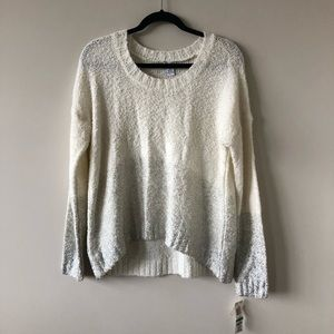 NWT-Bar III Cream & Sliver Ombré Sweater